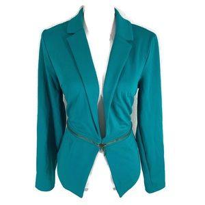 Mossimo green teal zip waist blazer